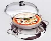 pentola fornetto con ripiano interno e coperchio in vetro adatta per pizza